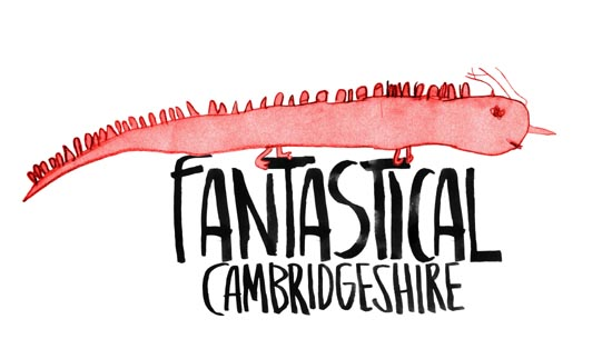 Fantastical Cambridgeshire Logo a drawing of a fantastical red lizard with spines like creature